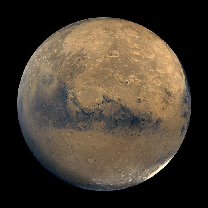 This mosaic of Mars is composed of about 100 Viking Orbiter images. The images were acquired in 1980 during mid-northern summer on Mars.
