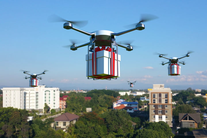 prisoners drone smuggling doj news 70289782  with white gift box on blue sky 3d illustration