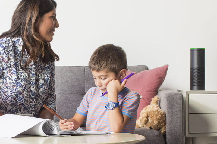 mom and son using with amazon echo