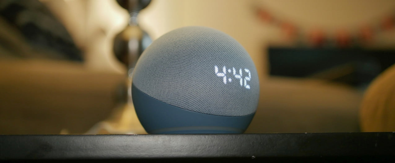 Amazon Echo Dot (4th Gen) with Clock on table