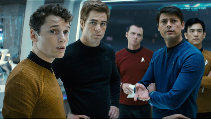 Anton Yelchin (left) in the Star Trek reboot