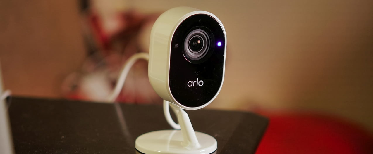 Arlo Essential Indoor Security Camera on table