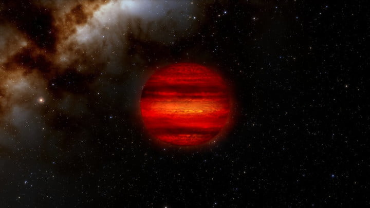 """Brown dwarfs are often called """"failed stars."""" They form like stars but are not massive enough to fuse hydrogen into helium as stars do. More like giant planets, brown dwarfs can often have storms in their atmospheres, as depicted in this illustration. Astronomers have recently discovered three brown dwarfs that spin faster than any other ever discovered. Each one completes a single rotation in roughly an hour, about 10 times faster than normal."""