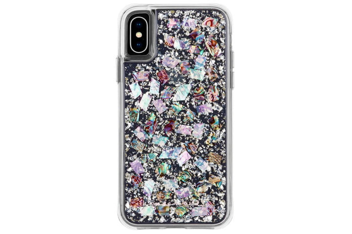 Photo shows the rear view of an iPhone XS in a mother of pearl case