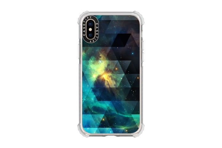 Picture shows the iPhone XS in a galactic blue, green, yellow and black space-themed design case from Casetify