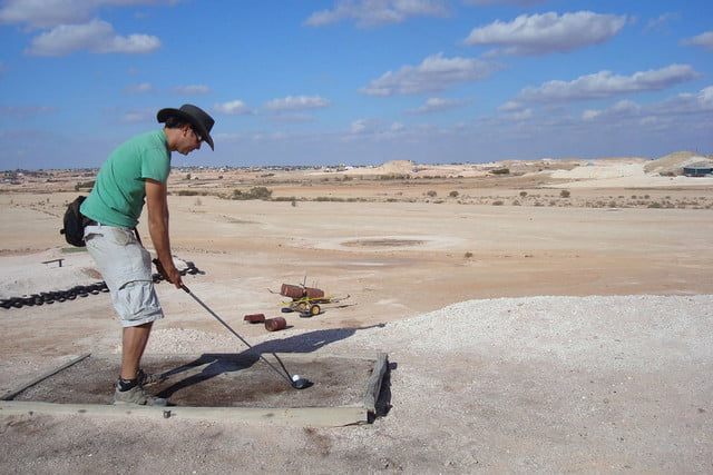 coober pedys residents live in underground dugouts pedy opal fields golf club