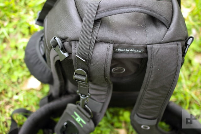 A shot showing how the Cotton Carrier StrapShot attached to a camera bag