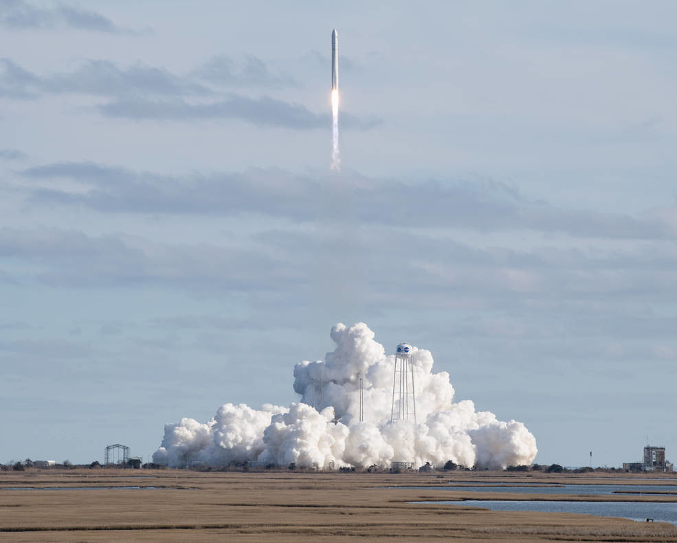 A Northrop Grumman Cygnus resupply spacecraft launched on an Antares 230+ rocket from the Virginia Mid-Atlantic Regional Spaceport's Pad 0A at Wallops at 3:21 p.m. EST Saturday, Feb. 15, 2020