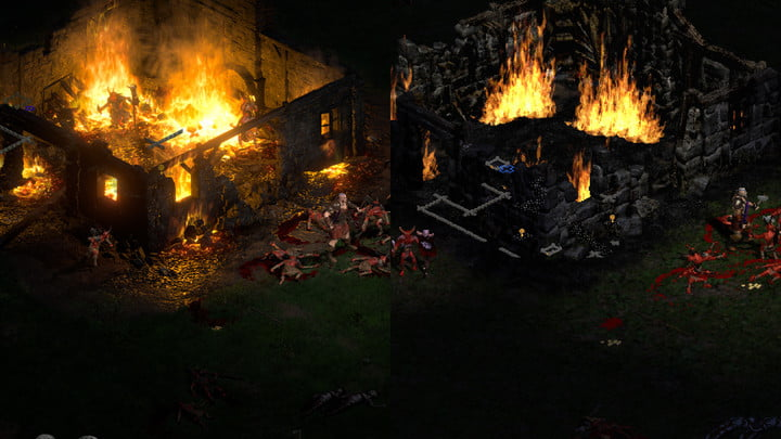 Diablo 2 Resurrected graphical comparison