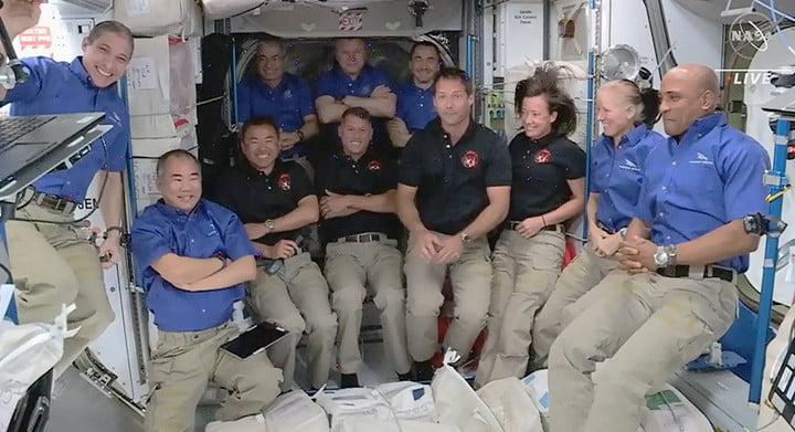 The four new SpaceX Crew 2 astronauts joined the Expedition 65 crew today, increasing the station population to 11.