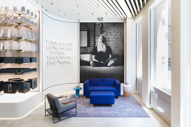 sonos retail store nyc sound front of product family tree and rick rubin mural