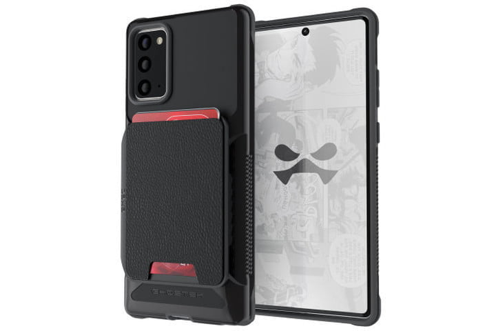 Photo shows the front and back view of a Samsung Galaxy Note 20 in a black Ghostek Exec 4 Wallet Case with credit cards