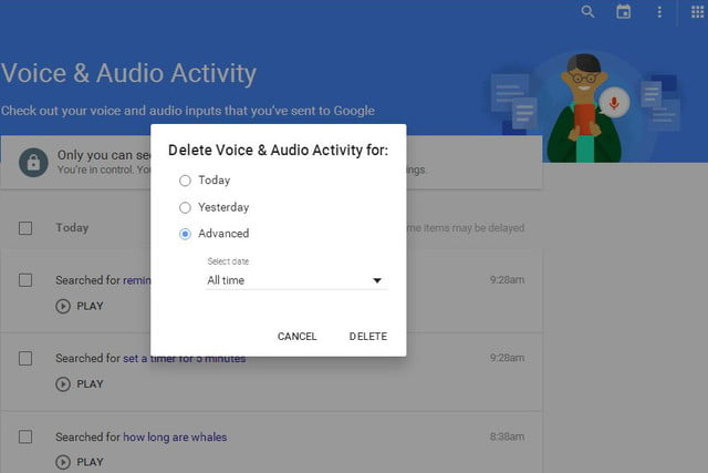 opt out delete google voice search history now 05b