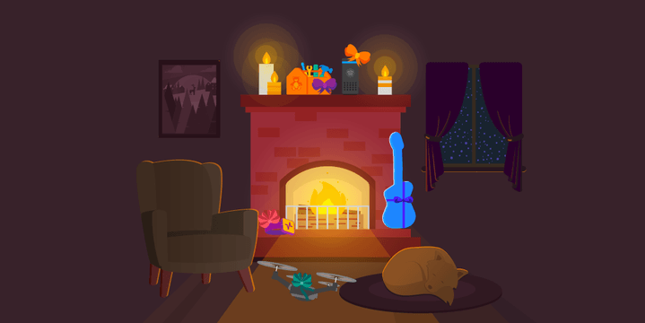 holiday gifts by the fireplace