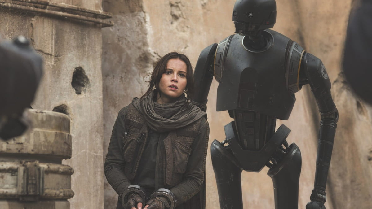 Jyn and K-2SO in Rogue One