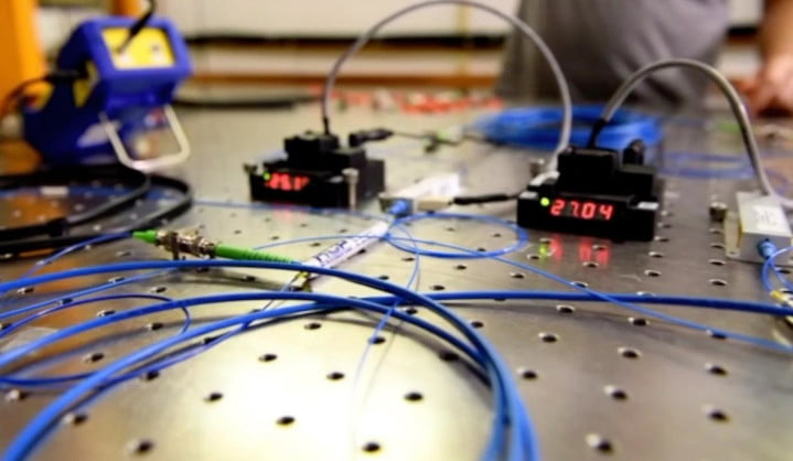 In a demonstration of high-fidelity quantum teleportation at the Fermilab Quantum Network, fiber-optic cables connect off-the-shelf devices (shown above), as well as state-of-the-art R&D devices.