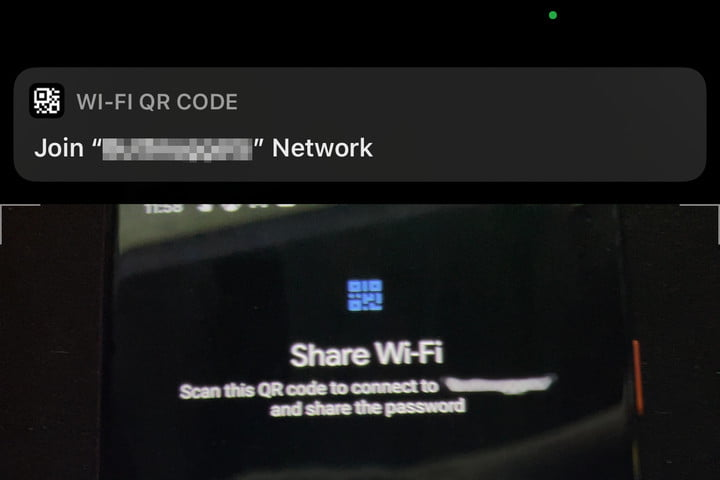 Notification from iPhone Wi-Fi QR code