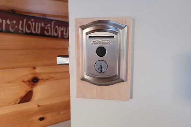 Kwikset Halo Touch deadbolt in action.