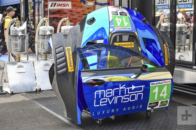 Car body pieces from the Lexus RC F GT3 being disassembled