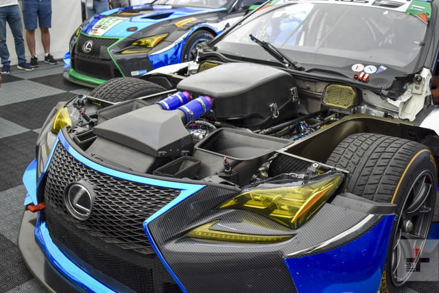 Close-up of the engine angled to the left of the Lexus RC F GT3