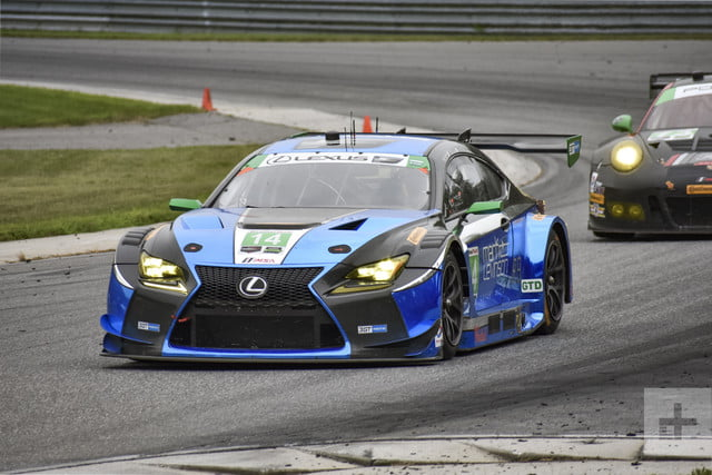 Lexus RC F GT3 rounding a corner being tailed by another car
