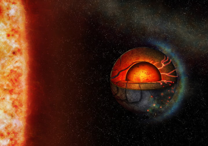 This artist's illustration represents the possible interior dynamics of the super-Earth exoplanet LHS 3844b. The planet's interior properties and the strong stellar irradiation might lead to a hemispheric tectonic regime.