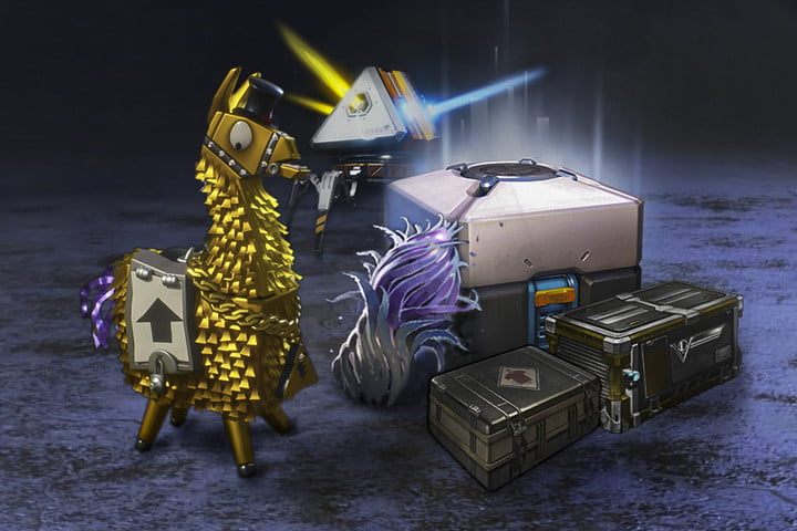 Loot boxes in different games like Fortnite, Rocket League, PUBG, Dota 2