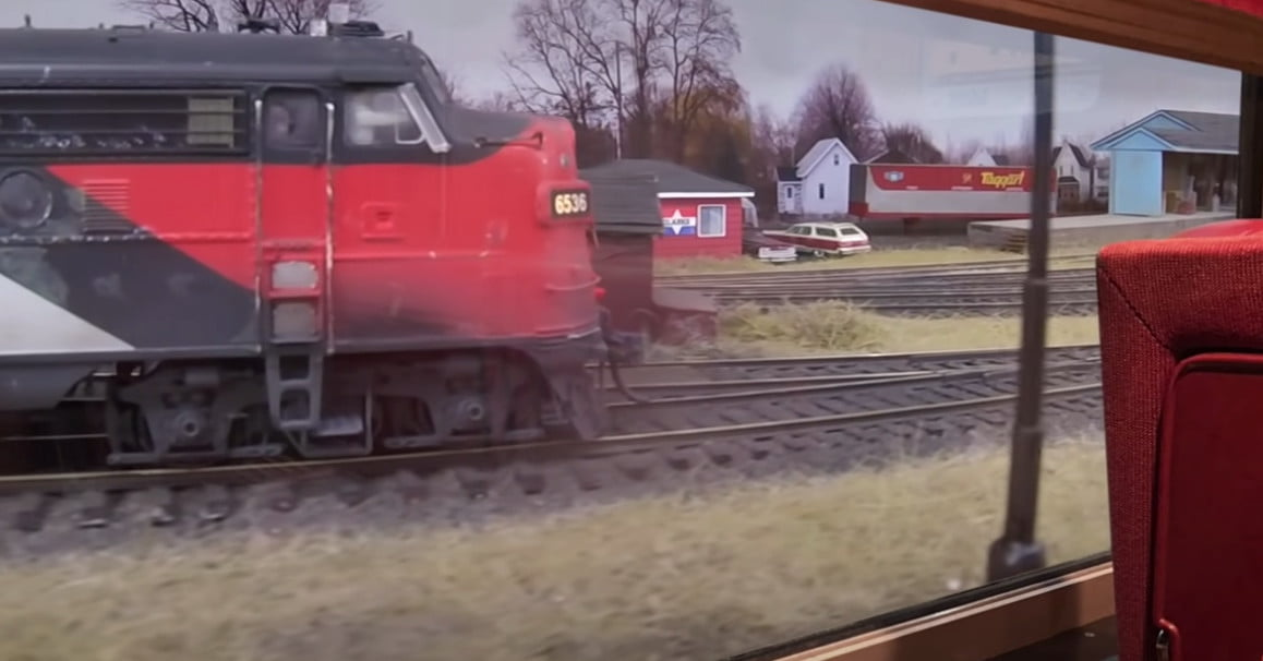 Model train set looks like the real thing in this GoPro video