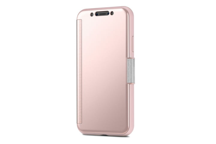 Photo shows an iPhone 11 XS in a pink StealthCover case from Moshi