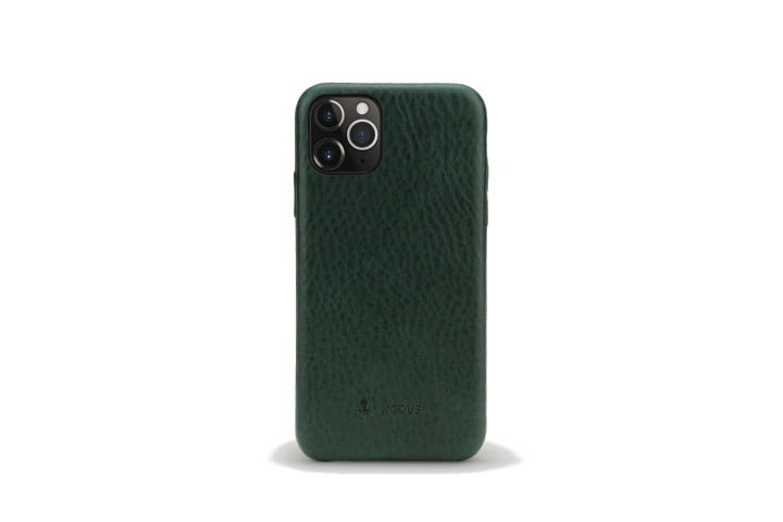 Picture shows the rear view of an iPhone XS in a dark teal leather case from Nodus