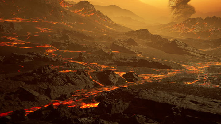 Artistic impression of the surface of the newly discovered hot super-Earth Gliese 486b. With a temperature of about 700 Kelvin (430 °C), the astronomers of the CARMENES collaboration expect a Venus-like hot and dry landscape interspersed with glowing lava rivers. Gliese 486b possible has a tenuous atmosphere.