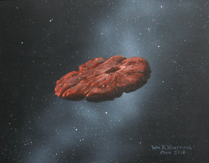 This painting by William K. Hartmann, who is a senior scientist emeritus at the Planetary Science Institute in Tucson, Arizona, is based on a commission from Michael Belton and shows a concept of the 'Oumuamua object as a pancake-shaped disk