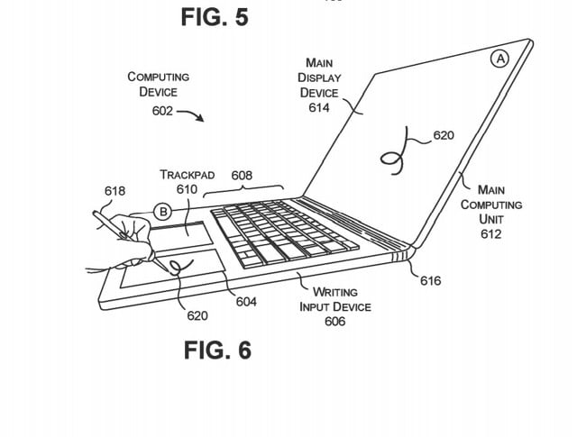 microsoft surface book 3 inking space patent in keyboard 2