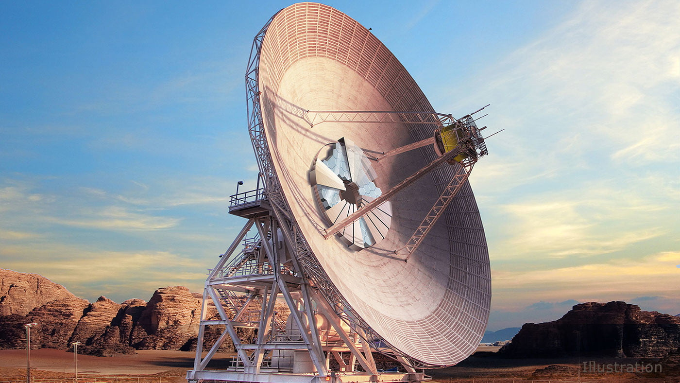 Deep Space Network This artist's concept shows what Deep Space Station-23, a new antenna dish capable of supporting both radio wave and laser communications, will look like when completed at the Deep Space Network's Goldstone, California, complex.
