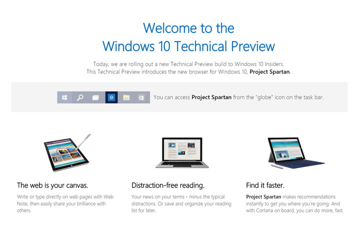project spartan now available in the windows 10 technical preview projectspartan
