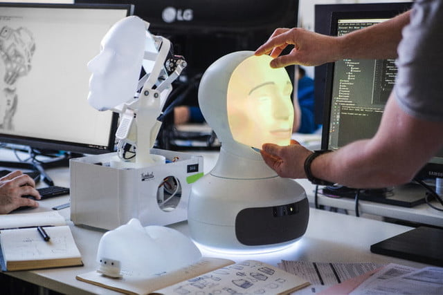 furhat social training robot replacing a mask