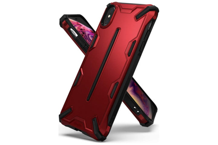 Photo shows the iPhone XS in a red and black metallic shell case from Ringke