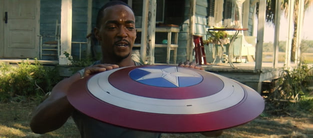 Anthony Mackie as Sam Wilson in Falcon and the Winter Soldier wields Captain America's Shield