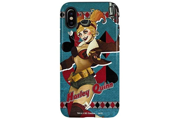 Photo shows the rear view of an iPhone XS in a blue Skinit phone case with a Harley Quinn design
