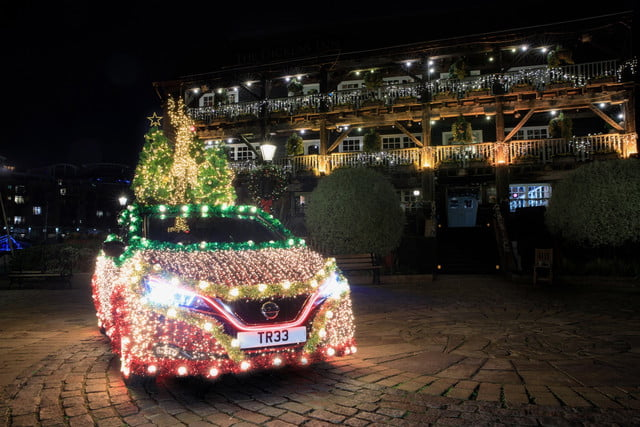 nissan leaf electric car turned into mobile christmas tree