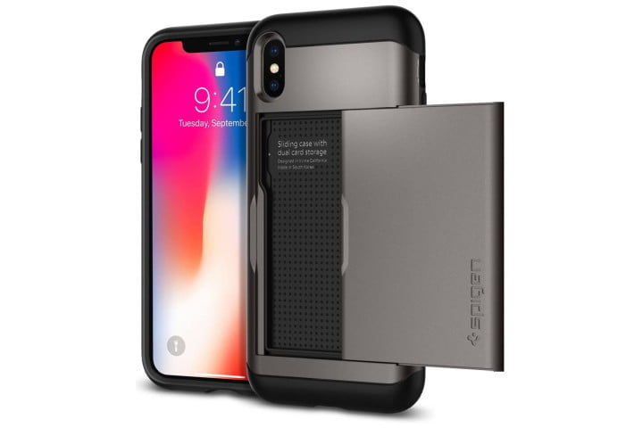 Photo shows the front and rear view of an iPhone XS in a slim armor case from Spigen, which slides open at the back to reveal storage space for cards