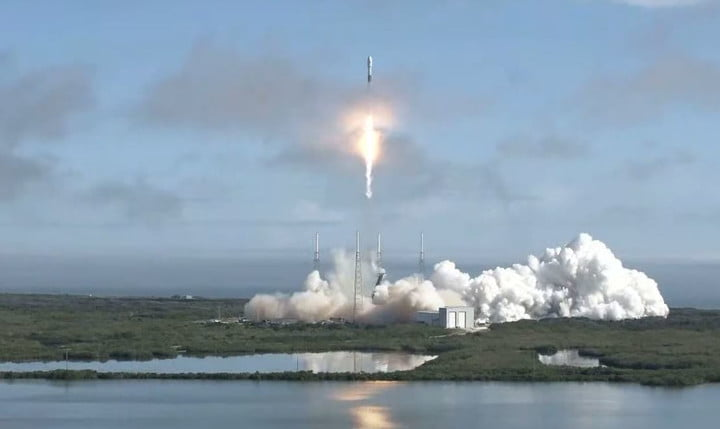 60 Starlink satellites are launched aboard a Falcon 9 rocket on Monday, 17th February 2020.