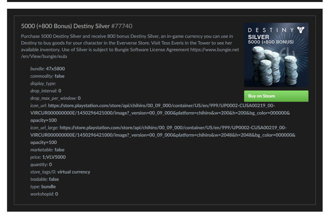 steam destiny silver 4