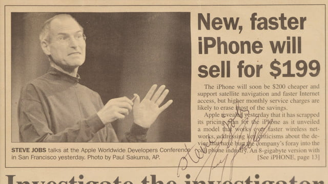 Steve Jobs signed newspaper article auction