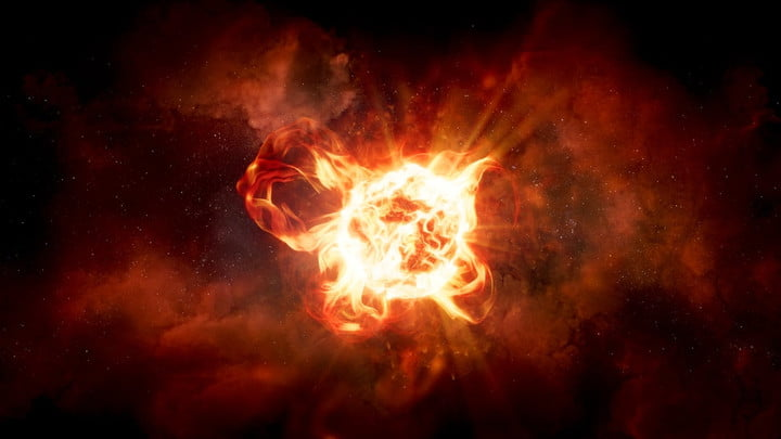 This artist's impression of hypergiant star VY Canis Majoris shows the star's vast convection cells and violent ejections. VY Canis Majoris is so large that if it replaced the Sun, the star would extend for hundreds of millions of miles, between the orbits of Jupiter and Saturn.