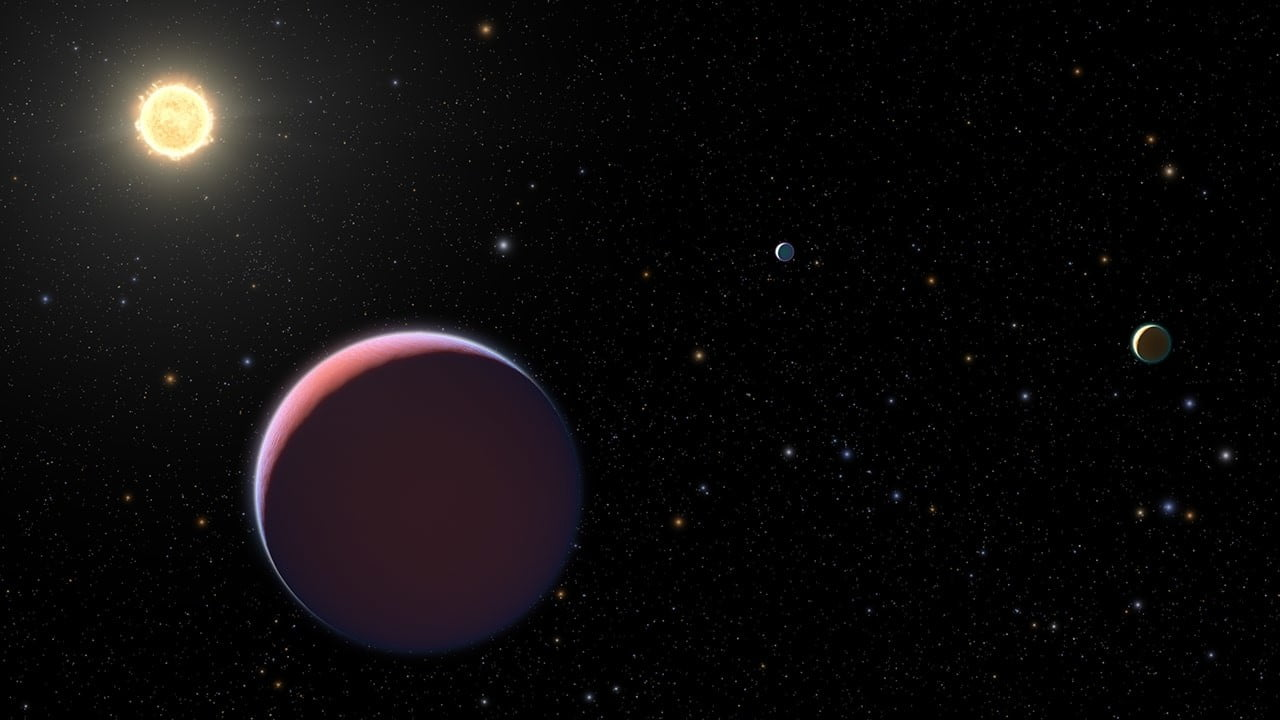 Illustration of star Kepler 51 and three orbiting planets.