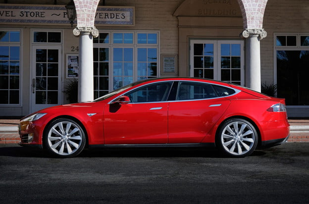 Tesla Model S red side