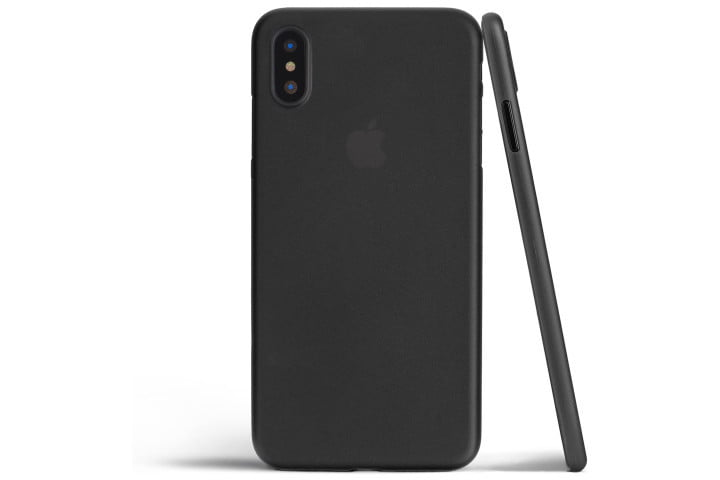 Photo shows the back and side view of an iPhone XS in a black Totallee thin case