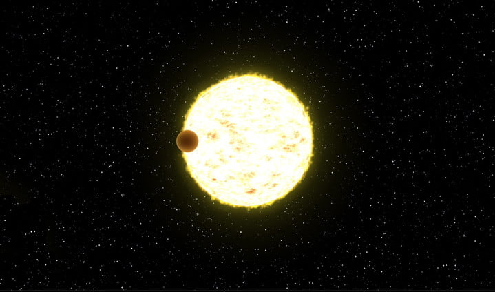 Illustration of a planet transiting its host star.