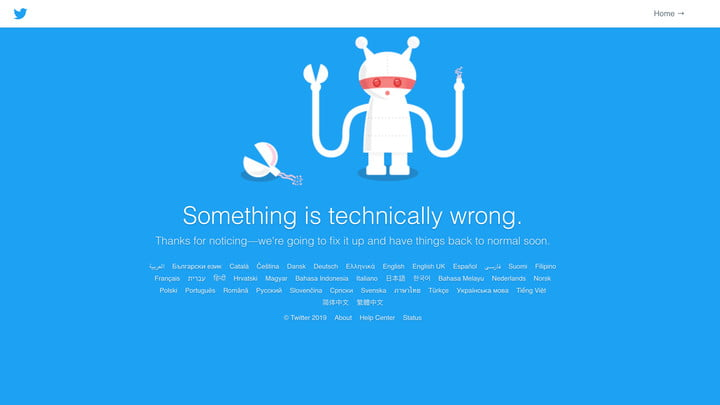 An error message showing that Twitter is down